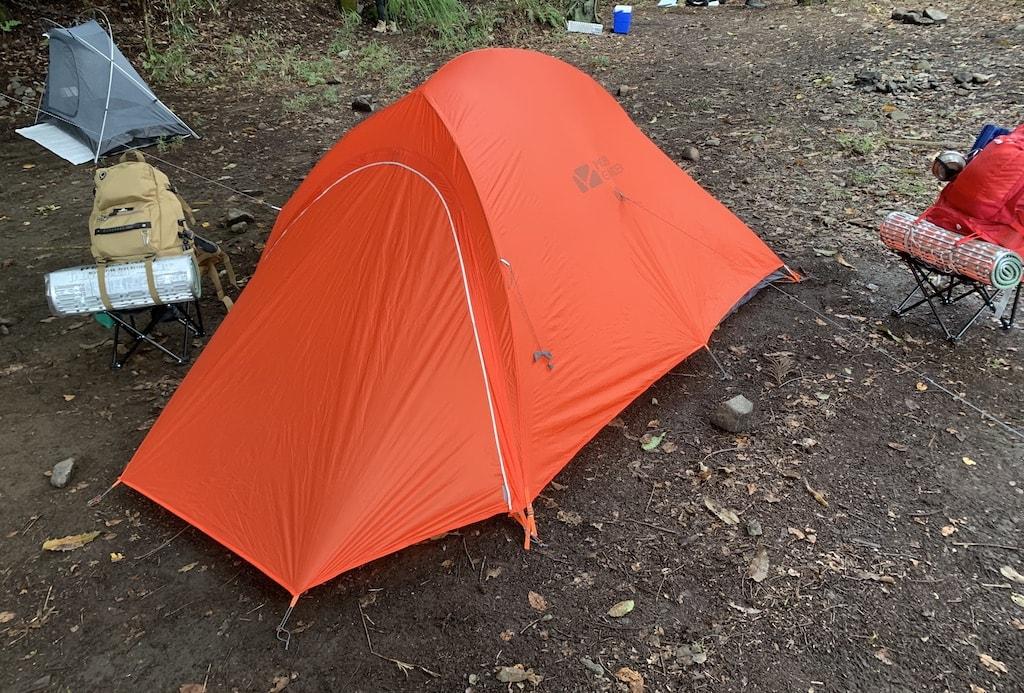 初テント設営