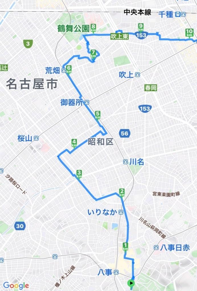 八事から鶴舞までの地図