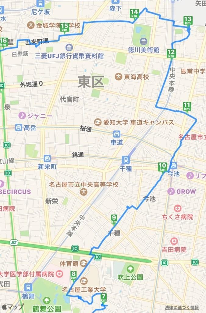 鶴舞公園から徳川園の地図