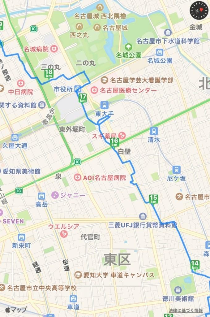 徳川美術館から名古屋城までの地図