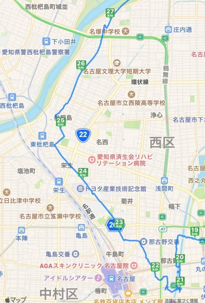 納屋橋から庄内川に向かう地図