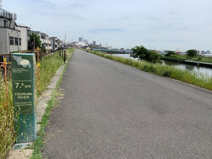 鶴見川 河口 案内板 7.5キロ