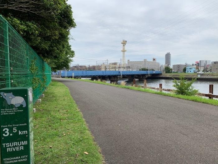 鶴見川 河口 案内板 3.5キロ