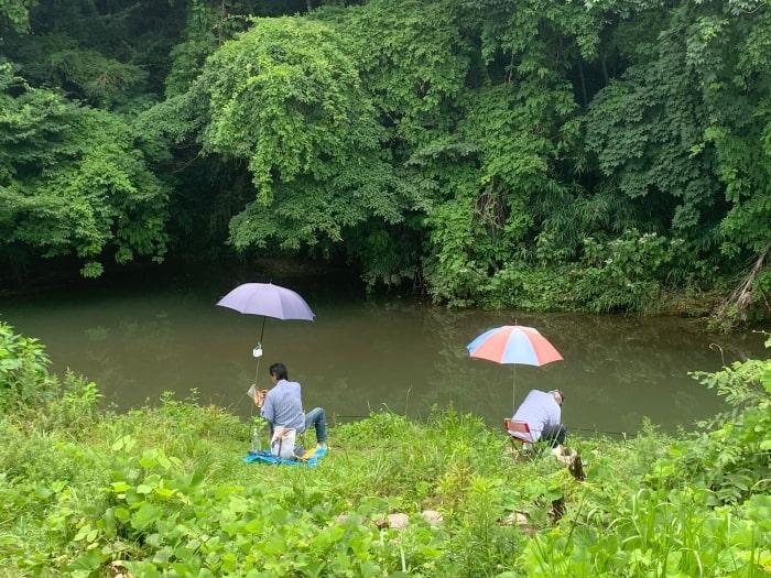 鶴見川 釣り パラソル